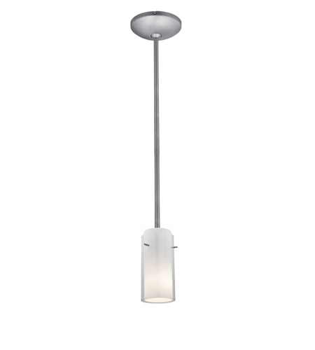Access 28033-1R-BS/CLOP Janine 1 Light 5 inch Brushed Steel Pendant Ceiling Light in Clear and Opal, Incandescent, Rod photo