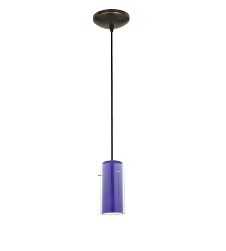 Access Lighting Tali 1 Light Glass in Glass Cylinder Pendant in Oil Rubbed Bronze with Clear Outer Cobalt Inner Glass 28033-2C-ORB/CLCB photo