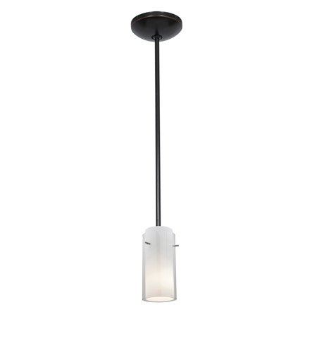 Access 28033-2R-ORB/CLOP Julia 1 Light 5 inch Oil Rubbed Bronze Pendant Ceiling Light in Clear and Opal, Fluorescent, Rod photo
