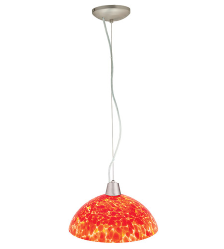 Access Lighting Ami Fire 1 Light Glass Bowl Pendant in Brushed Steel 28065-BS/RED photo