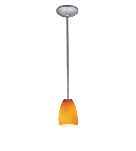 Access 28069-1R-BS/AMB Janine 1 Light 5 inch Brushed Steel Pendant Ceiling Light in Amber, Incandescent, Rod photo