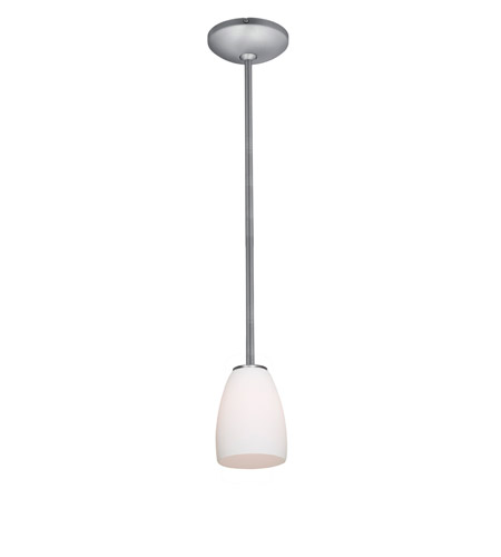 Access Lighting Janine 1 Light Cone Glass Pendant in Brushed Steel with Opal Glass 28069-1R-BS/OPL photo