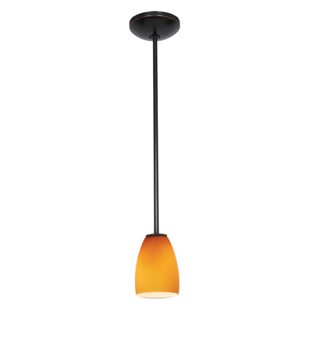 Access Lighting Janine 1 Light Cone Glass Pendant in Oil Rubbed Bronze with Amber Glass 28069-1R-ORB/AMB photo