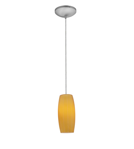 Access Lighting Sydney 1 Light Glass Pendant in Brushed Steel with Amber Glass 28070-1C-BS/AMB photo