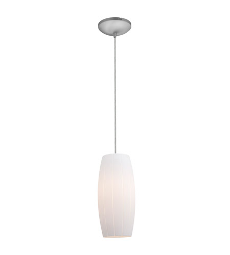 Access 28070-2C-BS/WHT Tali 1 Light 5 inch Brushed Steel Pendant Ceiling Light in White, Fluorescent, Cord photo