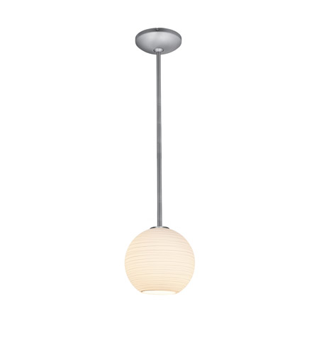 Access Lighting Lantern 1 Light Pendant in Brushed Steel with White Lined Glass 28085-2R-BS/WHTLN photo