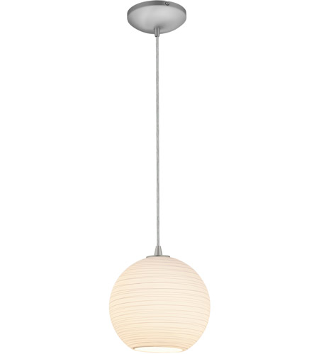 Access 28087-3C-BS/WHTLN Japanese Lantern Medium LED 10 inch Brushed Steel Pendant Ceiling Light photo