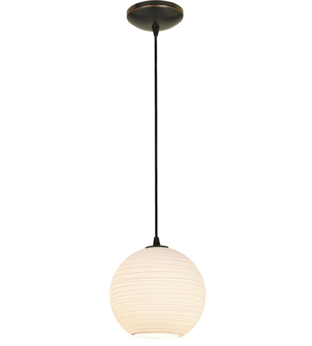 Access 28087-3C-ORB/WHTLN Japanese Lantern Medium LED 10 inch Oil Rubbed Bronze Pendant Ceiling Light photo