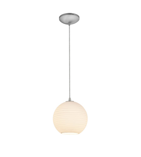 Access Lighting Lantern 1 Light Pendant in Brushed Steel with White Lined Glass 28087-2C-BS/WHTLN photo