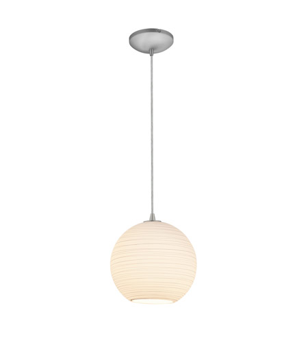 Access Lighting Lantern 1 Light Pendant in Brushed Steel with White Lined Glass 28088-2C-BS/WHTLN photo