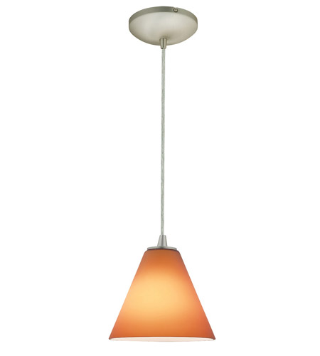 Access Lighting Sydney Inari Silk 1 Light Maxi Pendant in Brushed Steel 28204-BS/AMB photo