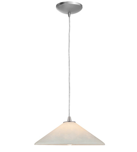 Access Lighting Sydney Manhattan 1 Light Hat Glass Pendant in Brushed Steel 28215-BS/OPL photo