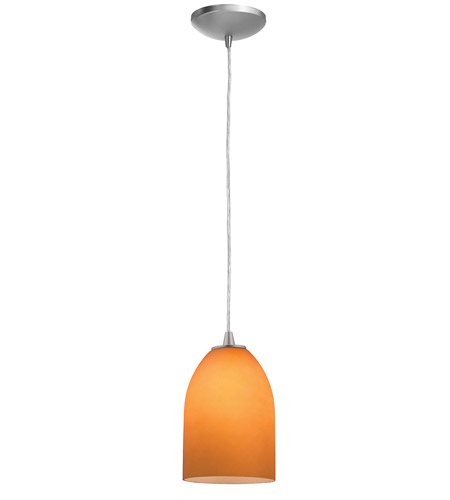 Access Lighting Sydney Inari Silk 1 Light Maxi Pendant in Brushed Steel 28218-BS/AMB photo