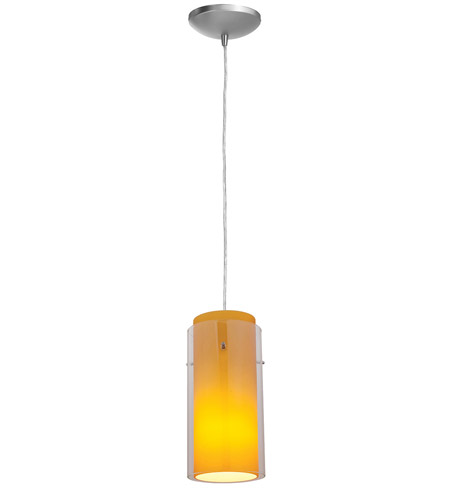 Access Lighting Sydney Glass in Glass 1 Light Maxi Pendant in Brushed Steel 28233-BS/CLAM photo