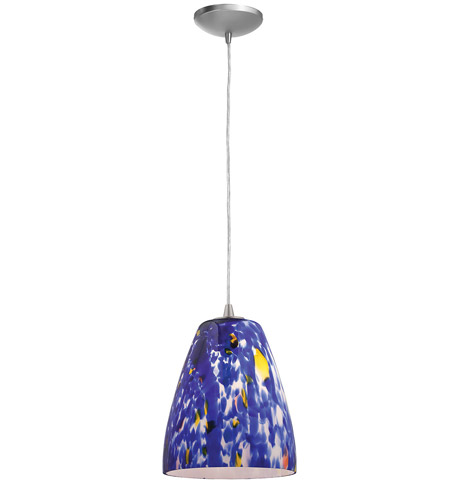 Access Lighting Sydney Fire 1 Light Glass Pendant in Brushed Steel 28244-BS/BLU photo