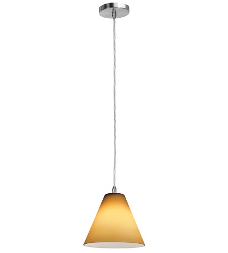 Access Lighting Shava Inari Silk 1 Light Maxi Pendant in Brushed Steel 28304-BS/AMB photo