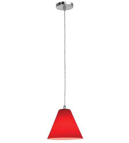 Access Lighting Shava Inari Silk 1 Light Maxi Pendant in Brushed Steel 28304-BS/RED photo
