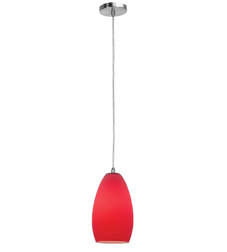 Access Lighting Shava Inari Silk 1 Light Maxi Pendant in Brushed Steel 28312-BS/RED photo