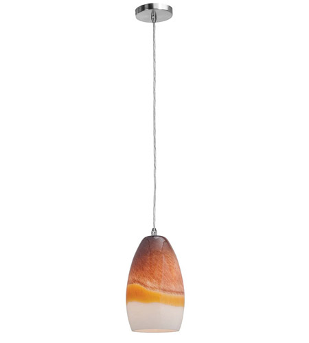 Access Lighting Shava Inari Silk 1 Light Maxi Pendant in Brushed Steel 28312-BS/TRA photo