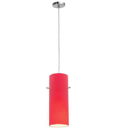 Access Lighting Shava Inari Silk 1 Light Maxi Pendant in Brushed Steel 28330-BS/RED photo