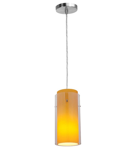 Access Lighting Shava Glass in Glass 1 Light Maxi Pendant in Brushed Steel 28333-BS/CLAM photo