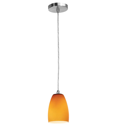 Access Lighting Shava Inari Silk 1 Light Maxi Pendant in Brushed Steel 28369-BS/AMB photo