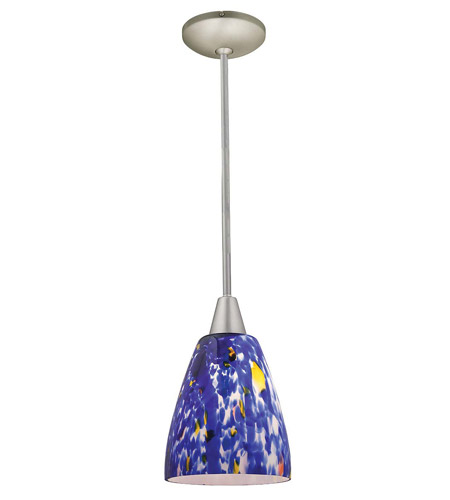 Access Lighting Shaney Fire 1 Light Glass Pendant in Satin 28444-SAT/BLU photo