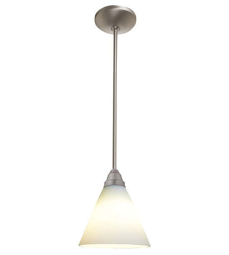 Access Lighting Flora Inari Silk 1 Light Oriental Glass Pendant in Brushed Steel 28504-BS/WHT photo