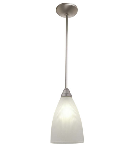 Access Lighting Flora Tsuki 1 Light Ribbed Glass Pendant in Brushed Steel 28506-BS/RFR photo
