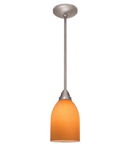 Access Lighting Flora Inari Silk 1 Light Cone Glass Pendant in Brushed Steel 28518-BS/AMB photo