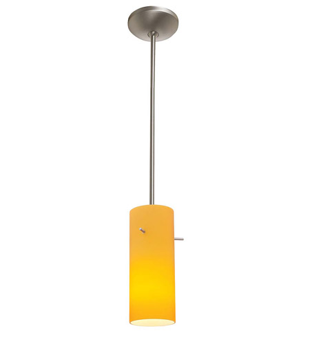 Access Lighting Flora Inari Silk 1 Light Cylinder Glass Pendant in Brushed Steel 28530-BS/AMB photo