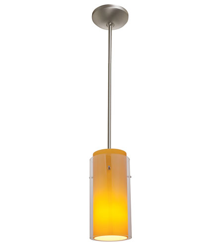 Access Lighting Flora GnG 1 Light Glass in Glass Cylinder Pendant in Oil Rubbed Bronze 28533-ORB/CLAM photo