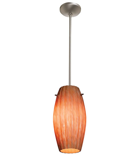 Access Lighting Flora Fleur 1 Light Flower Glass Pendant in Brushed Steel 28576-BS/AMM photo