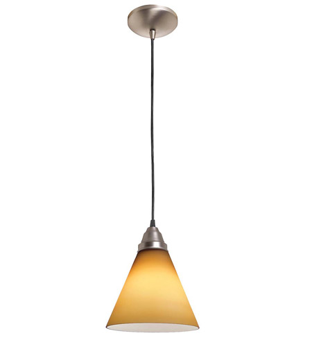 Access Lighting Rita Inari Silk 1 Light Oriental Glass Pendant in Brushed Steel 28604-BS/AMB photo