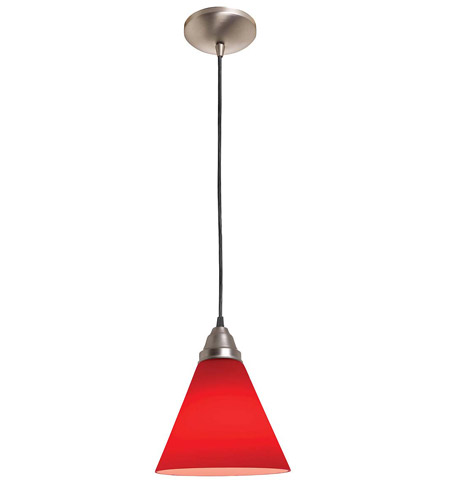 Access Lighting Rita Inari Silk 1 Light Oriental Glass Pendant in Brushed Steel 28604-BS/RED photo