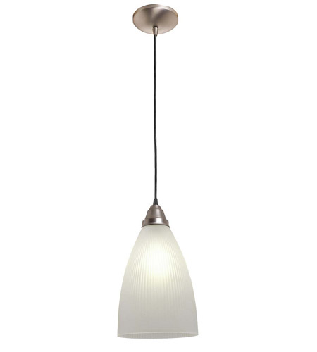 Access Lighting Rita Tsuki 1 Light Ribbed Glass Pendant in Brushed Steel 28606-BS/RFR photo