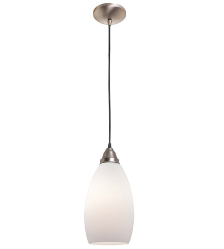 Access Lighting Rita Inari Silk 1 Light Glass Pendant in Brushed Steel 28612-BS/OPL photo