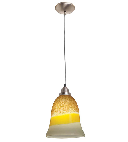 Access Lighting Rita Manhattan 1 Light Bell Glass Pendant in Brushed Steel 28614-BS/TRA photo
