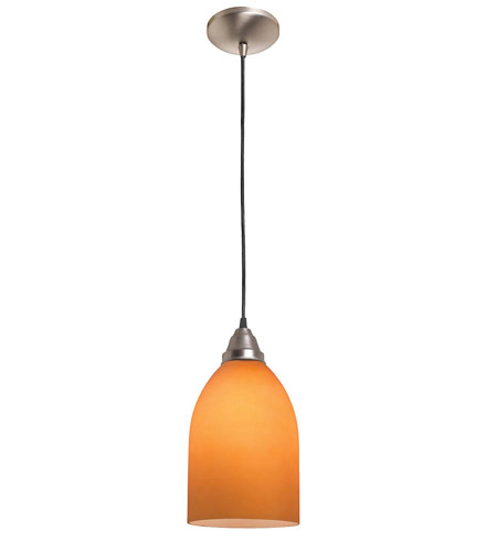 Access Lighting Rita Inari Silk 1 Light Cone Glass Pendant in Brushed Steel 28618-BS/AMB photo