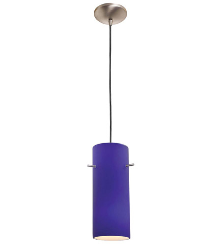 Access Lighting Rita Inari Silk 1 Light Cylinder Glass Pendant in Brushed Steel 28630-BS/COB photo