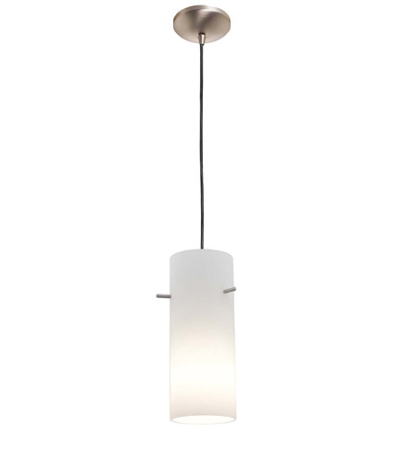 Access Lighting Rita Inari Silk 1 Light Cylinder Glass Pendant in Brushed Steel 28630-BS/OPL photo