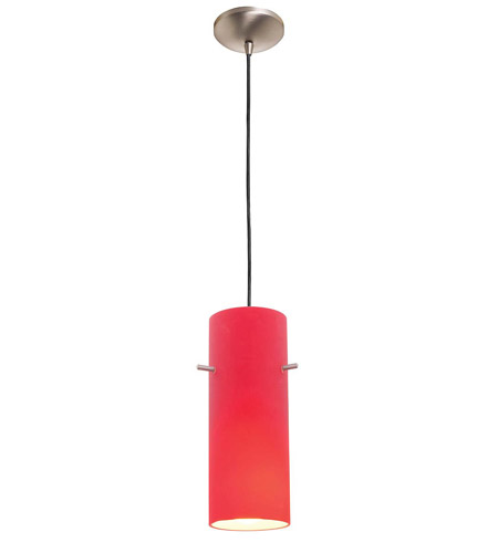 Access Lighting Rita Inari Silk 1 Light Cylinder Glass Pendant in Brushed Steel 28630-BS/RED photo