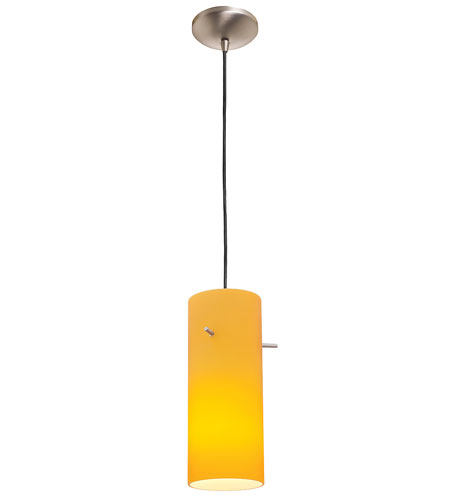 Access Lighting Rita Inari Silk 1 Light Cylinder Glass Pendant in Oil Rubbed Bronze 28630-ORB/OPL photo