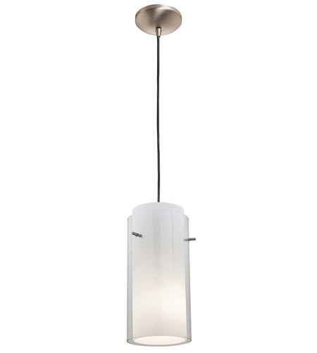 Access Lighting Rita GnG 1 Light Glass in Glass Cylinder Pendant in Brushed Steel 28633-BS/CLOP photo