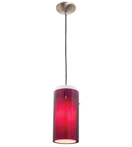 Access Lighting Rita GnG 1 Light Glass in Glass Cylinder Pendant in Brushed Steel 28633-BS/PLOP photo
