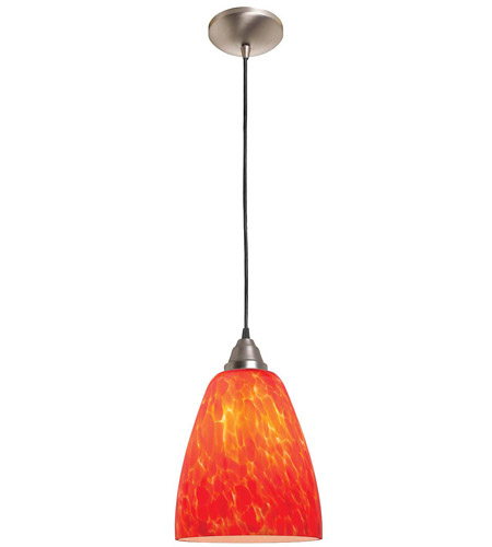 Access Lighting Rita Fire 1 Light Glass Pendant in Brushed Steel 28644-BS/BDY photo