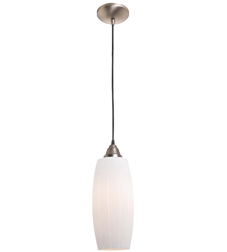 Access Lighting Rita Pearl 1 Light Glass Pendant in Brushed Steel 28670-BS/WHT photo