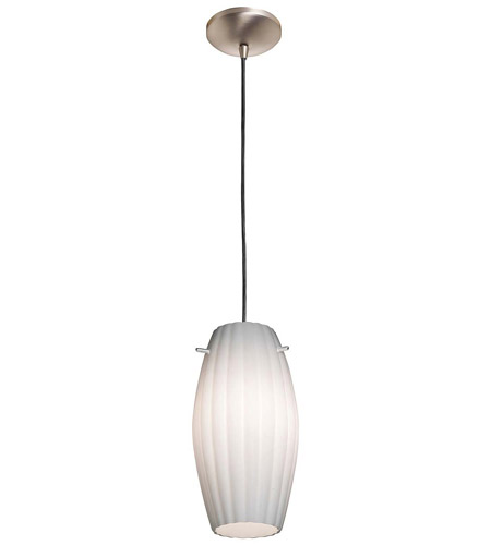 Access Lighting Rita Fleur 1 Light Flower Glass Pendant in Brushed Steel 28676-BS/OPL photo