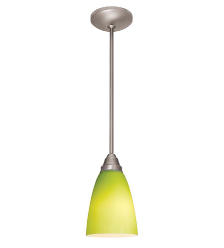 Access Lighting Lara Inari Silk 1 Light Cone Glass Pendant in Brushed Steel 28722-BS/LGR photo
