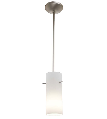 Access Lighting Laura Inari Silk 1 Light Cylinder Glass Pendant in Brushed Steel 28730-BS/OPL photo